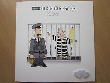 Personalised Handmade Good Luck, Leaving, New Job Card - Prison Officer, etc