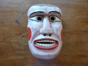 """Antique Wooden Carved and Painted Tyrolian? Mexican? Carnival Mask 9"""""""