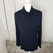 New Calvin Klein Turtleneck Long Sleeve T Shirt Top Women's XL Blue NWT