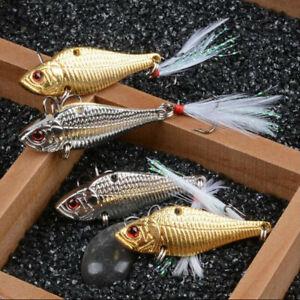 8PCS Metal VIB Fishing Lure Spinnerbait Spoon with Treble Hook Jig 0.51oz/14.5g