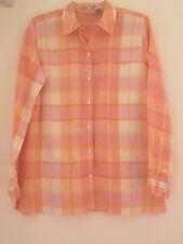 CHEROKEE Womens Linen Tunic Shirt Medium Top Blouse Pink/Peach Plaid Long Sleeve