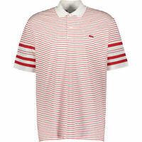 New Lacoste Mens Polo Shirt Size XXL 7 Regular Fit White Red stripes Rare logo