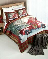 Home for the Holidays Red and Green Plaid Holiday Truck Comforter and/or Shams