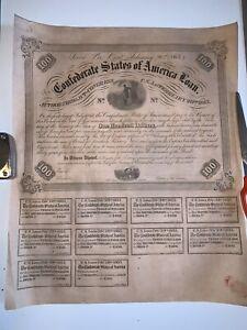 1863 $100 6% 5 Year Confederate CSA War Bond