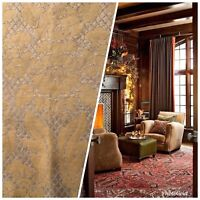 NEW Quilted Burnout Chenille Velvet Fabric- Taupe And Gold- Upholstery