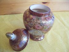 Japanese GINGER JAR with Lid in Bronze, Golds, Pinks, etc  - MADE IN JAPAN