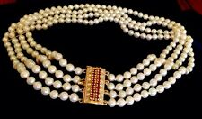 Saltwater Baby pearls/ pearl seeds BIG Clasp Diamonds Ruby 14k Necklace choker