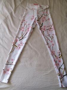 Black Milk Clothing Cherry Blossom White Leggings Size XS Blackmilk
