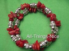 RED CORAL Gemstone Crystal Bangle Wrap Bracelet Jewellery for Healing & Luck