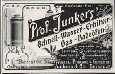 DESSAU, Werbung 1900, Prof. Junkers Schnell-Wassererhitzer Gas-Bade-Ofen Badetag