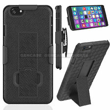For Galaxy s7 Rugged Dual Holster Hard Case with Fold Stand Belt Clip - Black