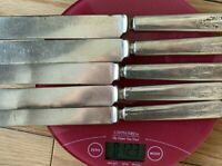 Vintage Box of 12 French Corne Handled Dinner Knives Boxed