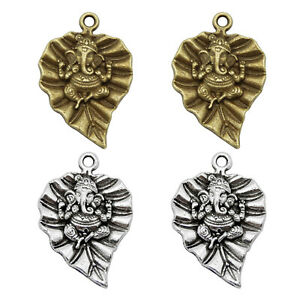 20PC Alloy Bronze/Silver Ganesha on Leaf Dangle Charms Pendant Keychain Earrings