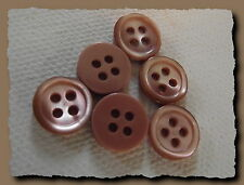 8 BOUTONS  BEIGE ROSE en NACRE 10 mm  4 trous  button shell mercerie sewing lot