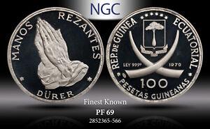 "1970 EQ. GUINEA SILVER 100 PESTEAS ""DURER'S PRAYING HANDS"" NGC PF69 FINEST KNOWN"