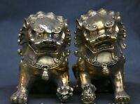 12cm Chinese Fengshui Brass Foo Fu Dog guardian Lion male and female Statue Pair