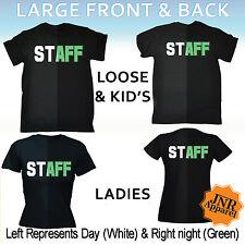 Staff Glow In The Dark T-SHIRT Uniform Barman Workwear Tee Nightclub birthday
