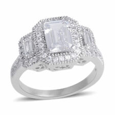 Halo Ring Rhodium Plated Cubic Zirconia Gift Jewelry for Women Size 9 Ct 4.4
