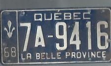Vintage 1968 CANADA QUEBEC CAR  license plate 7A-9416 THE AMON CARTER COLLECTION