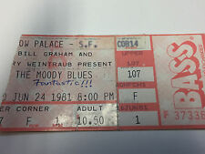 The Moody Blues Ticket Stub, 6/24/81