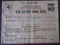 ANTIQUE VINTAGE WAR RATION BOOK NO. 4