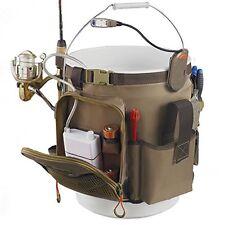 Fishing Bucket Organizer w/LED Light Tackle Rod Holder Lures Bait
