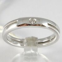 ANILLO DE ORO BLANCO 750 18 CT,FE COMPROMISO CON DIAMANTE CT 0.03,DOBLE ROSCADA