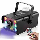 Halloween Fog Machine,6 Stage LED Lights with 12 Colors,500W Wireless Black
