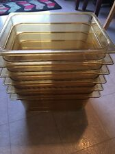 Lot Of 6 Rubbermaid Commercial Hot Food Pan  - Fg225p00amber