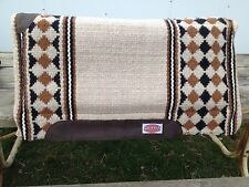 Creme / black / brown Showman Western saddle pad 6006 wool w/memory felt 36 X 34