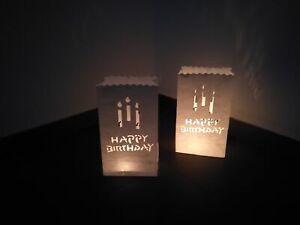 """10 Lichttüten """"Happy Birthday"""" weiss für Teelichter mit Motiv Kerzen"""
