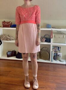 vintage 60's Grunge Bridesmaid mini dress pink lace taffeta