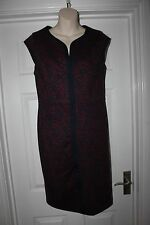 Ladies Navy with Red Floral Design Dress Size 12 TU Pencil Wiggle Frock