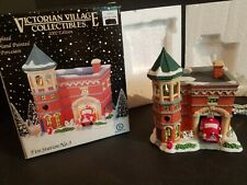 Year 2002 Victorian Village Lighted Fire Station No. 3 In Box