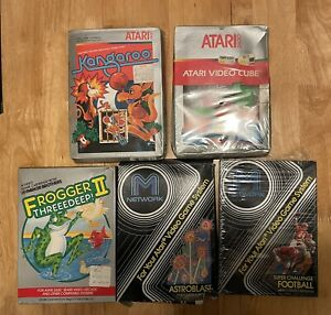 Lot of Boxed and Two Sealed Atari Games - Frogger 2, Kangaroo and More Vintage