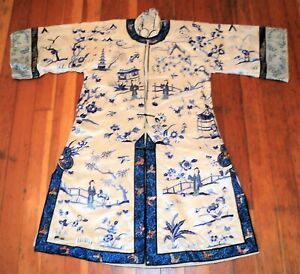 Antique CHINESE SILK ROBE Embroidery Mountains TEMPLES Women BUTTERFLIES in Blue