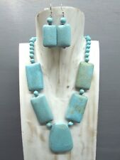 """16"""" Chunky Turquoise Necklace Flat Nugget Beads with Free Earrings"""