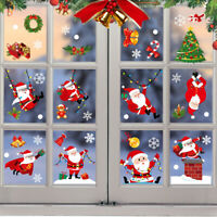 Christmas Window Glass Stickers Decal Santa Snowman Shop Xmas Party Wall Decor