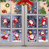 Christmas Window Glass Stickers Decal Santa Snowman Shop Xmas Party Wall Decor
