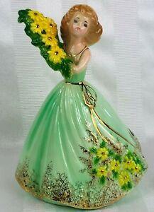Vintage JOSEF ORIGINAL Figurine Girl With Green Dress & Yellow Flowers