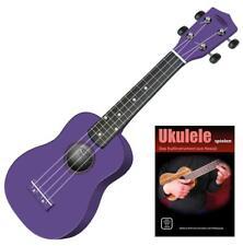 Classic Cantabile Ukulele violett Holz Hawaii Gitarre Uke Sopran Lehrbuch Schule