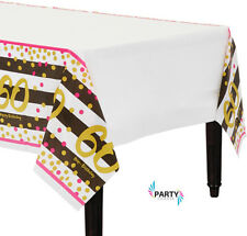 60th Birthday Party Supplies PINK & GOLD TABLE COVER 54 x 102 Inch Plastic