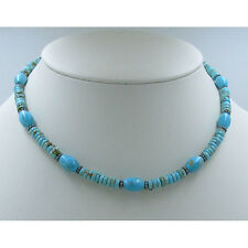 925 Sterling Silver Natural Easter Blue Islands In the Sand Turquoise Necklace