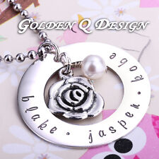 Personalised Hand Stamped Any Name Necklace Rose Pendant Christmas Gift D159