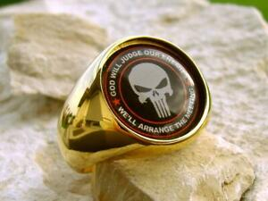 [SIZE 11.5 PUNISHER USMC MN88] RING PIN ARMY PATCH BAGUE GOLD RESIN