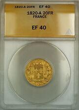 1820-A France 20 Fr Francs Gold Coin ANACS EF-40