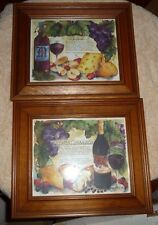 LOT OF 2 FRAMED PICTURES WINE  WINES CABERNET SAUVIGNON MERLOT LOVELY