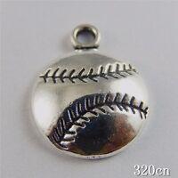 50pcs Vintage Silver Alloy Baseball Shape Pendants Charms Jewelry Crafts 50759