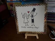 Handmade, drawn, written, coloured button wedding card topper, can be...