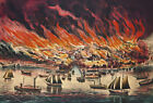 FRAMED CANVAS Art print THE GREAT FIRE AT CHICAGO, OCTR. 8TH 1871